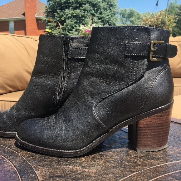 Black Leather Booties With Wood Heel
